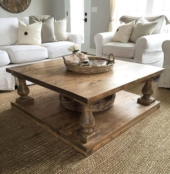Large Wood Coffee Table: Large Square Rustic Baluster Wide Plank Coffee Table