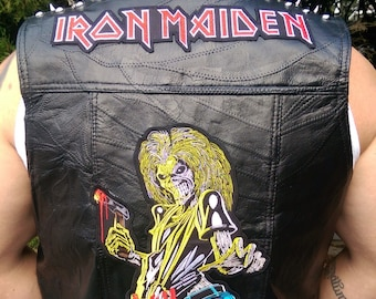 Men's Large Spiked Iron Maiden Genuine Leather Vest