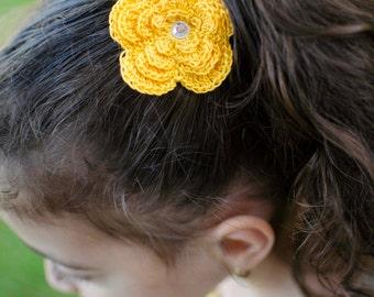 Crochet Thread Flower Hair Clips