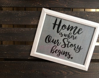 Home is where our story begins vinyl sticker