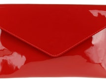 Cardinal Red Burgundy Maroon Patent Italian Leather Clutch Bag Envelope Glossy