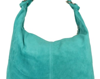 Genuine Italian Suede Hobo Slouch Shoulder Bag Turquoise Yellow Coral