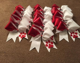 Red and White Paw Print Bow