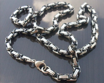 Stainless steel King chain silver/black 54, 5 cm long (024)