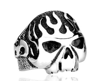 Skull ring skull flame stainless steel 316L for him and her (SK-038)