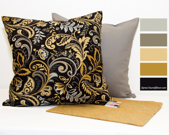 black and gold pillow cover pillow cover with gray and gold. Black Bedroom Furniture Sets. Home Design Ideas