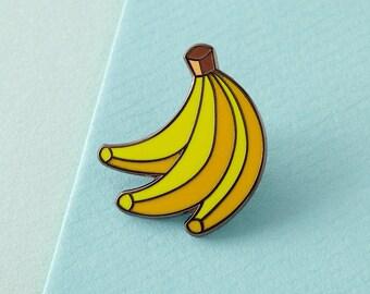 Bananas Enamel Pin with clutch back // lapel pins, tropical, hawaiian // EP086