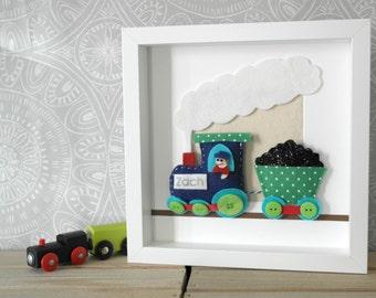 Personalised train. Felt train and carriage.  Boys room.  Train artwork. Cute train. Children's artwork. Nursery décor. Box frame. UK