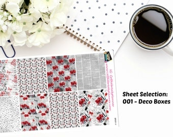 Planner Stickers|Black and Red Elegance Weekly Sticker Kit|Vertical Planners Sticker Kit|For use in a variety of planners|BR001-BR005
