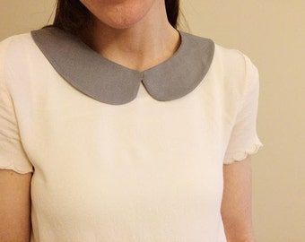 Solid Gray Detachable Peter Pan  Collar