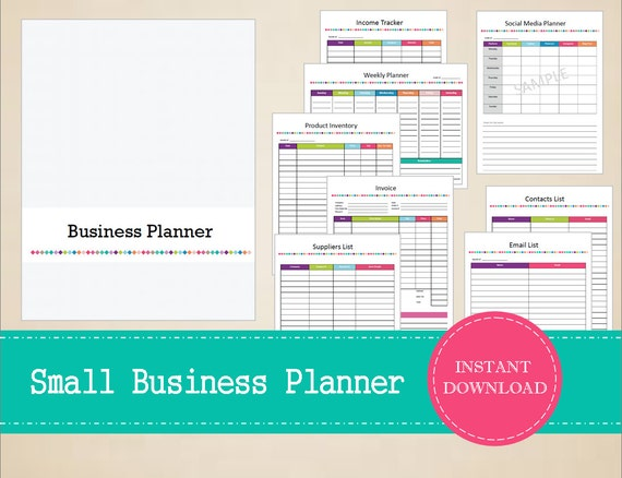Printable Small Business Planner   Home Business Planner   Business Binder    Printable And Editable   INSTANT PDF DOWNLOAD   19 Pages  Free Business Printables