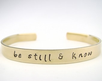 Be still & know Nu Gold bracelet, Psalm 46:5 brass bible verse bracelet, Scripture jewelry, Christian bracelet cuff, religious jewelry