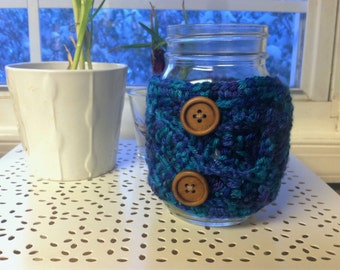 Buttons and Blues Crochet Mug Snuggie/Sleeve