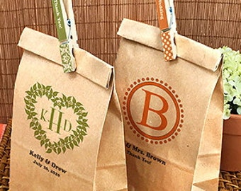 50 - Personalized Monogram Kraft Favor Bags - Eco Friendly Wedding - Shower - Baptism - Baby Party Favor - 8859000