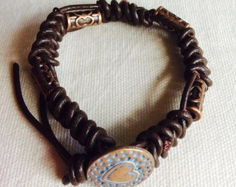 Spanish Knot Beaded Leather Bracelet