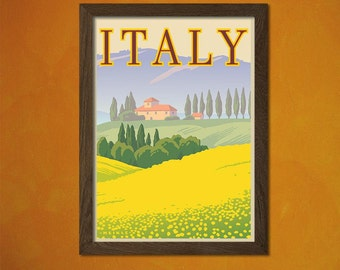 Printed on textured bamboo Art paper - Italy Travel print - Vintage Travel Poster Italy Poster Italian Print Travel Wall Art Gift Idea