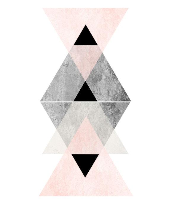 Extrem Affiche Scandinave géométrique Art mural rose et gris Art AN68