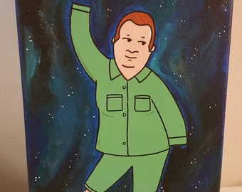 Bobby Hill outerspace pajama dance- acrylic painting