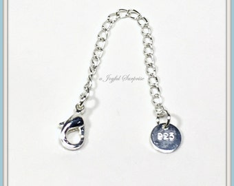 """Add on a Silver Plated Extension Chain For Necklaces - 2 1/2"""" Extender - Makes necklace longer, Necklace Accessories, Jewelry Add on tail"""