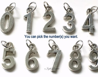 """Add on a number charm 1/2"""" x 1/4"""" Numeric Charm Pendant 1 2 3 4 5 6 7 8 9 10 21 16 40 50 18 19 Sports Jersey number Hockey Baseball Athlete"""