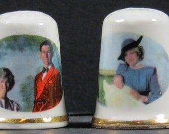 Vintage 4 Roalty Thimbles Princess Diana/Prince Charles/ 2 Queen Elizabeth