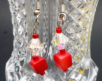 Swarovski and Red coral earrings