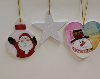 3 Wooden Christmas Ornaments
