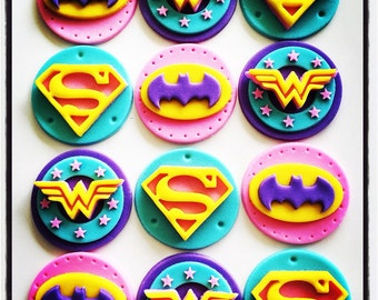12 x Girlie Superhero  Edible Cupcake Toppers - Batgirl, Wondergirl, Wonderwoman, Supergirl, Superman, Batman
