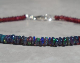 Garnet bracelet, january birthstone, Opal Bracelet, Black Opal Bracelet, Ethiopian Opal Bracelet, dainty Gemstone beaded Bracelet,