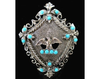EAGLE Pin / Pendant * Crest * Shield With Faux Turquoise Stones * Large Statement Pin