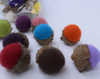 Acorns, wet felted, natural,seasonal