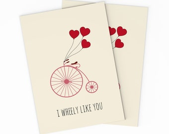 Bicycle Valentines Card   Printable Love Card   Funny Valentine Card    Printable Valentineu0027s Day Card