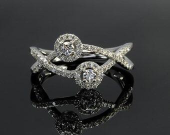 Diamond Engagement Ring, Promise Ring for Her, 18 k White Gold Ring,  White Gold Diamond Ring, Classic Halo Ring for Woman