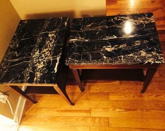 Mid century italian marble top end table pair
