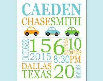 Cars Birth Print,Cars Birth Announcement,Cars Baby Gift,Boy Birth Print,Cars Kids Wall Art,Cars Nursery Wall Art Decor-8X10 DIGITAL OR PRINT