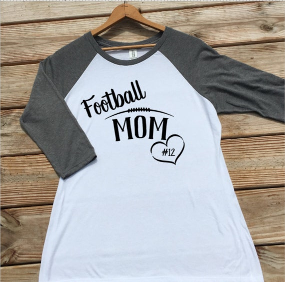 Personalized football mom shirt raglan baseball tee women for Custom raglan baseball shirt