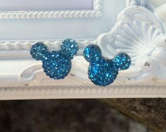 Mickey Mouse Rhinestone Earrings, Minnie Mouse Earrings, Disney Earrings, Disney Vacation Earrings, Rhinestone Stud Earrings, Navy Blue