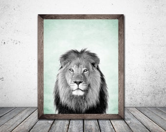 Lion Art Lion Print Wall Art Print Grey Print Digital Download Print