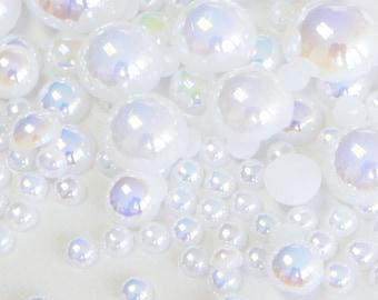 105pcs Mixed Size 3,5,8,10mm Half Round Pearl Flatback Resin Cabochons Scrapbooking Nail Craft -  Fantasy White AB