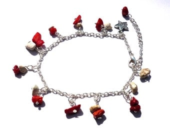 Chain ancle, red ancle bracelet