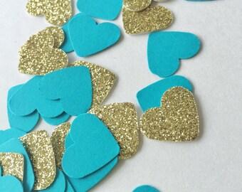 150PCS Gold and Teal Confetti - Gold Glitter Confetti - Wedding Confetti - Birthday Confetti - Summer Parties - Anniversary Party