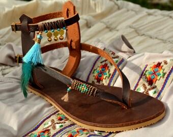 Leather Sandals, Gladiator Sandals, Greece Sandals, Hippie Sandals, Summer Sandals, Boho Sandals, Women Sandals, Coachella, Beaded Sandals