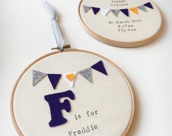 Personalised Nursery Hoop Gift Set - Matching Set of 2