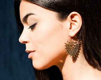 Gypsy Brass Earrings, Tribal Earrings, Large Earrings, Brass Filigree Earrings, Boho Earrings, Ethnic Earrings, Ornate Gold Earrings