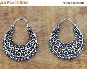 Silver Hoop Earrings, Gypsy Earrings, Boho Earrings, Tribal Earrings, Silver Filigree Earrings, Ethnic Earrings, Indian Earrings