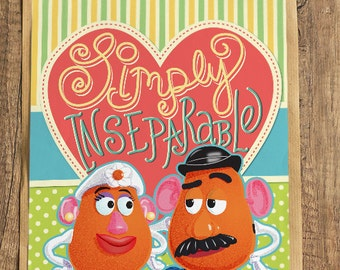 Mr. and Mrs Potatohead Toystory Art Printable, Instant download