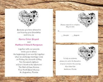 100 Personalized Custom Rustic Heart Floral Wedding Invitations Set RSVP Reception