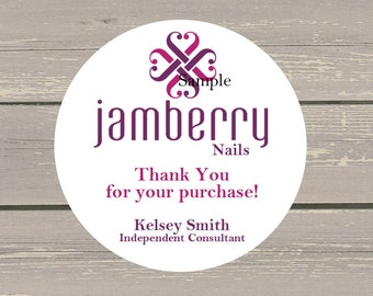 120 White Round Printed Jamberry Nails Customer Thank You Stickers Seals Personalized Name