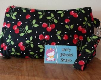 Wristlet// Caroline Wristlet// Clutch// Handbag// Purse// Handmade// Handcrafted// Red Cherry// Cherry// Cherries// Rockabilly//