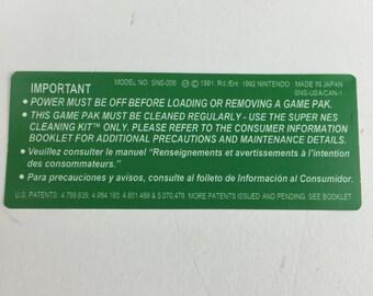 Green Super Nintendo Back Cartridge Labels